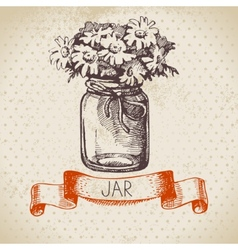 Rustic jar with chamomile bouquet vector