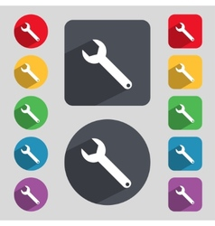 Wrench key sign icon service tool symbol set of vector
