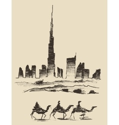 Caravan of camels dubai city skyline silhouette vector