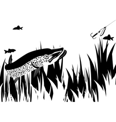 Pike and lure vector