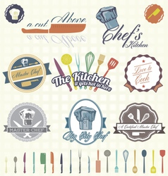 Chef labels color vector