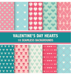 10 valentines day heart patterns vector
