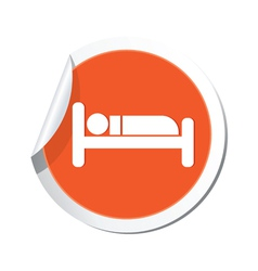 Bed orange label vector