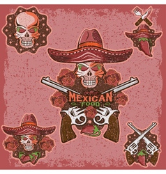 Grunge skull in a mexican sombrero with chili vector