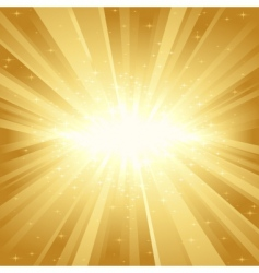 Golden light burst with stars vector