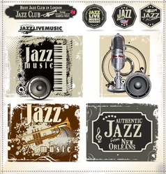 Jazz music stamps and labels vector
