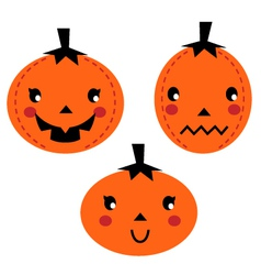Cute pumpkin heads isolated on white vector
