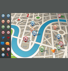 Street map with gps icons vector