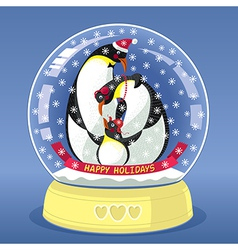 Snowing globe with family of three penguins inside vector