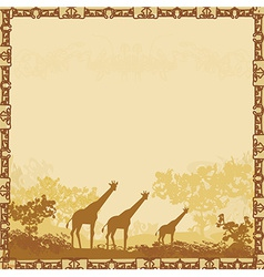 Grunge background with giraffe silhouette on vector