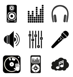 Set of icons of music theme simple black style vector