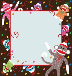 Sock monkey invitation vector