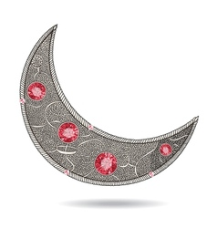 Graphic decorative moon with red rubies on the vector