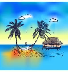 Paradise island with bungalow palm tree vector