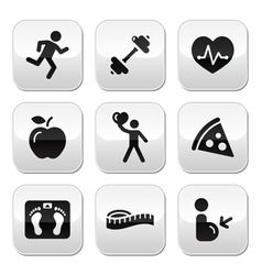 Keep fit and healthy icons on glossy buttons vector