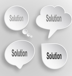 Solution white flat buttons on gray background vector