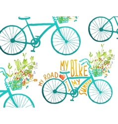 Vintage summer bike composition with bunch of vector