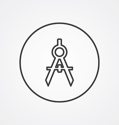 Compasses outline symbol dark on white background vector