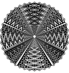 Black and white round ornament vector