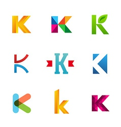 Set of letter k logo icons design template vector