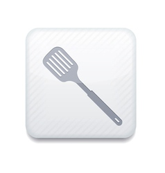 White slotted kitchen spoon icon eps10 easy to vector