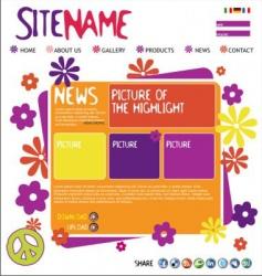 Abstract website template vector