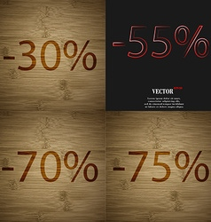 55 70 75 icon set of percent discount on abstract vector