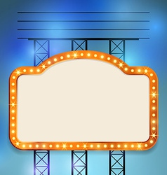 Retro cinema old vintage bulb frame sign vector