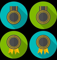 Award or badge with ribbons and decoration modern vector