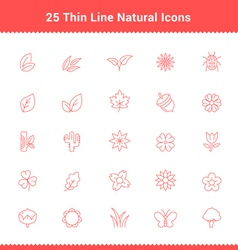 Set of thin line stroke natural icons vector