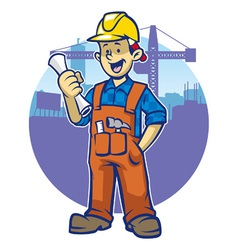 Smiling construction worker wear a hard hat vector