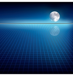 Abstract blue background with moon and horizon vector