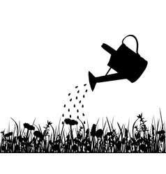 Watering pot and meadow vector