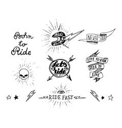 Traditional tattoo biker set vector