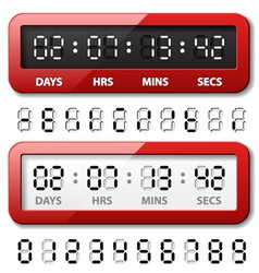 Red mechanical counter - countdown timer vector
