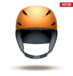 Front view of classic orange ski helmet isolated vector