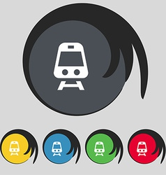 Train icon sign symbol on five colored buttons vector