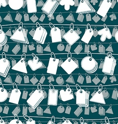 Sale tags on a rope seamless background monochrome vector