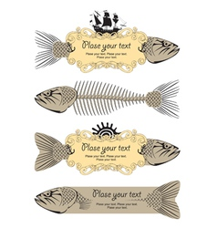 Banner signs with fish vector