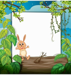 A rabbit on a trunk vector