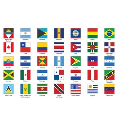 Icons with flags of americas vector