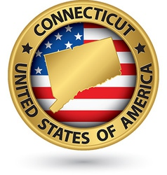 Connecticut state gold label with state map vector