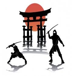 Two ninjas battling vector