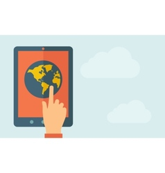 Touch screen tablet with the globe icon vector