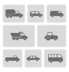 Monochrome icons with car icons vector