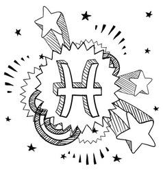 Doodle pop astrology pisces vector