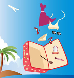 Vacation-with-woman-suitcase vector