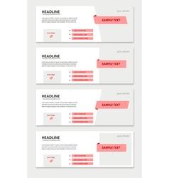 Set of facebook timeline pink covers vector