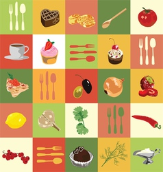 Colored squares with food vector