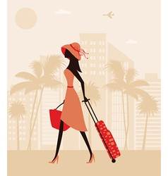 Woman with a suitcase at the resort vector